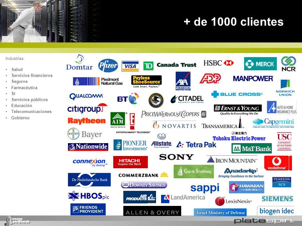 + de 1000 clientes Industrias: Salud Servicios financieros Seguros Farmacéutica SI Servicios públicos Educación Telecomunicaciones Gobierno