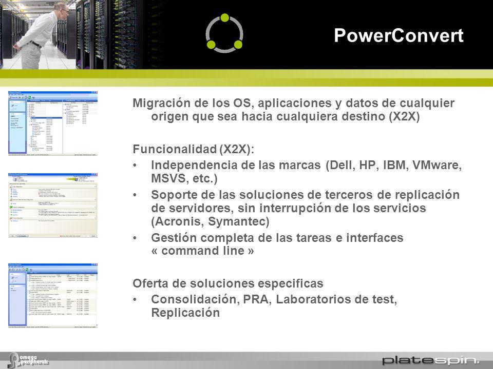 PowerConvert Migración de los OS, aplicaciones y datos de cualquier origen que sea hacia cualquiera destino (X2X) Funcionalidad (X2X): Independencia d