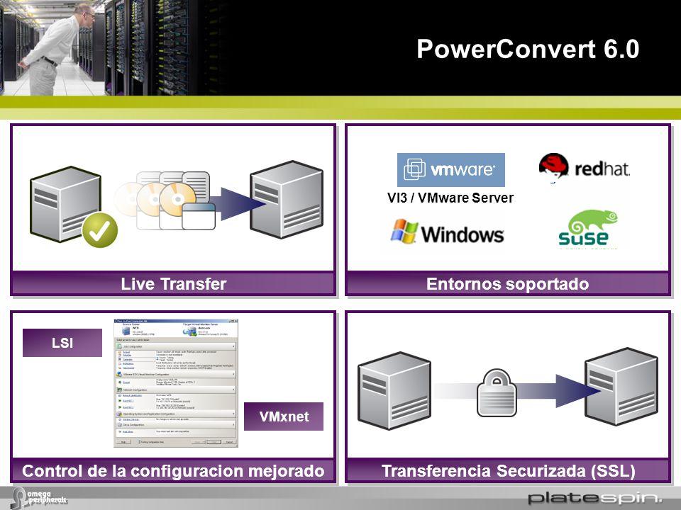 PowerConvert 6.0 Control de la configuracion mejorado VMxnet LSI Entornos soportadoLive TransferTransferencia Securizada (SSL) VI3 / VMware Server