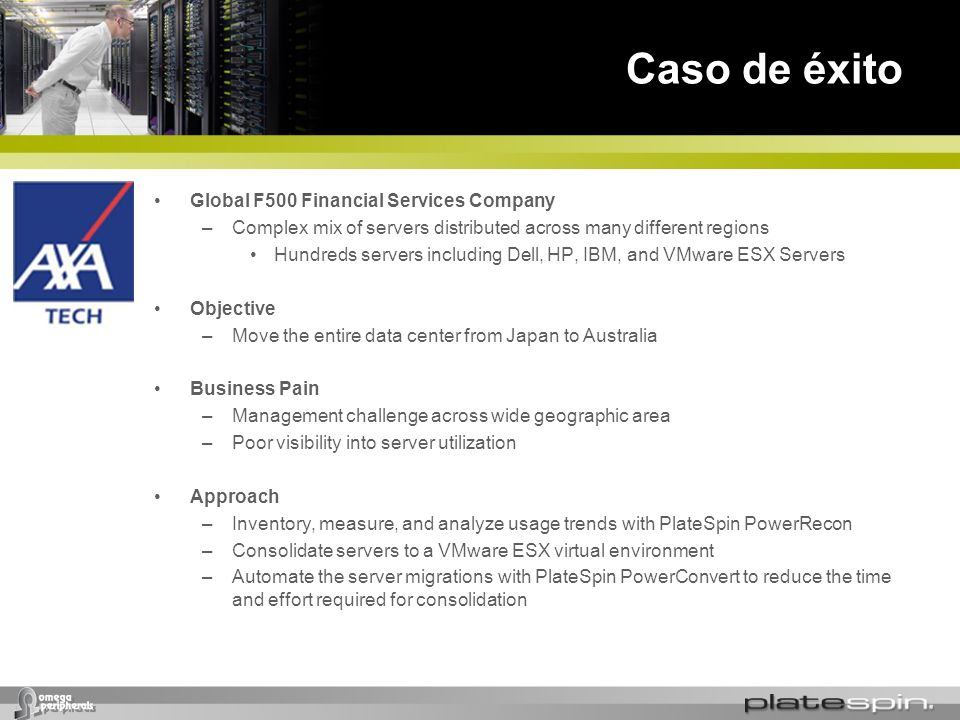 Caso de éxito Global F500 Financial Services Company –Complex mix of servers distributed across many different regions Hundreds servers including Dell