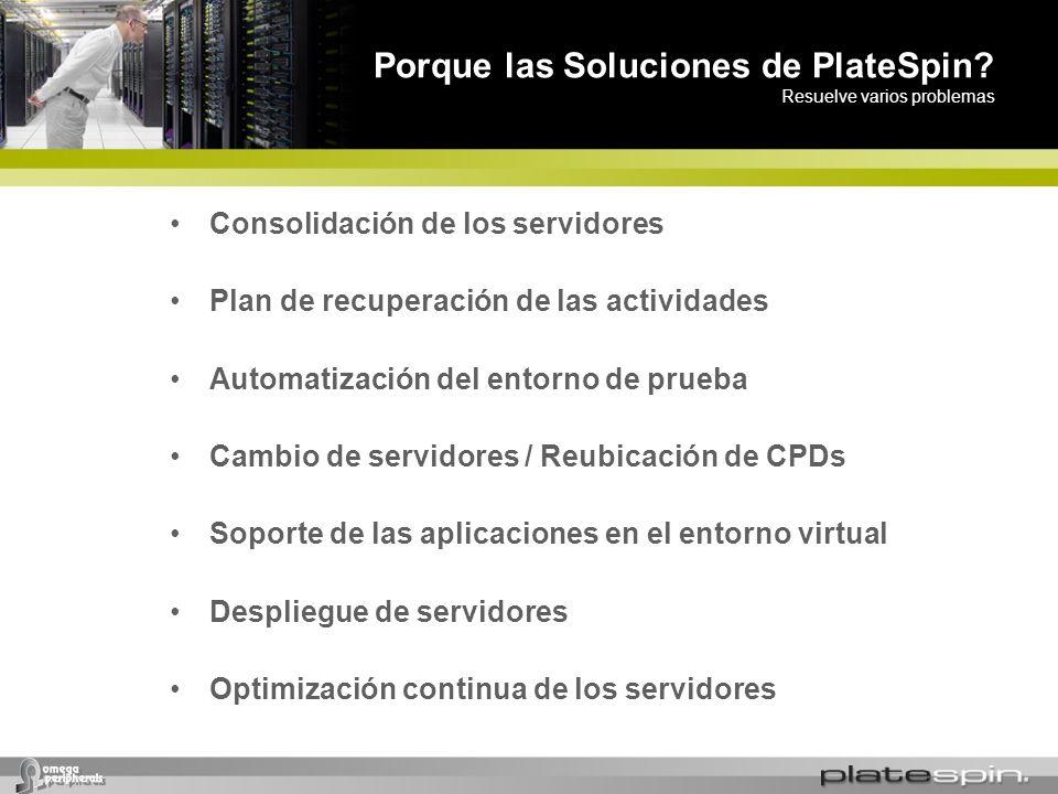 Porque las Soluciones de PlateSpin? Resuelve varios problemas Consolidación de los servidores Plan de recuperación de las actividades Automatización d