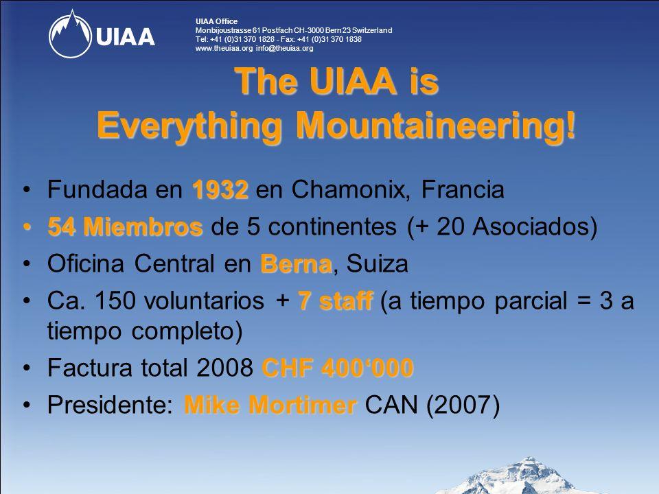 UIAA Office Monbijoustrasse 61 Postfach CH-3000 Bern 23 Switzerland Tel: +41 (0)31 370 1828 - Fax: +41 (0)31 370 1838 www.theuiaa.org info@theuiaa.org 1990 1990 La UIAA inicia la escalada de competición 1995 1995 El CIO reconoce a la UIAA 1999 1999 El esquí de montaña ingresa en la UIAA Historia de los deportes de competición en la UIAA