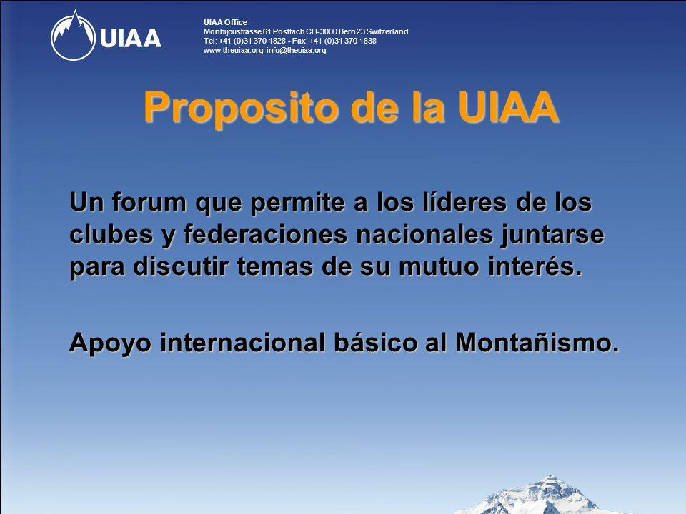 UIAA Office Monbijoustrasse 61 Postfach CH-3000 Bern 23 Switzerland Tel: +41 (0)31 370 1828 - Fax: +41 (0)31 370 1838 www.theuiaa.org info@theuiaa.org