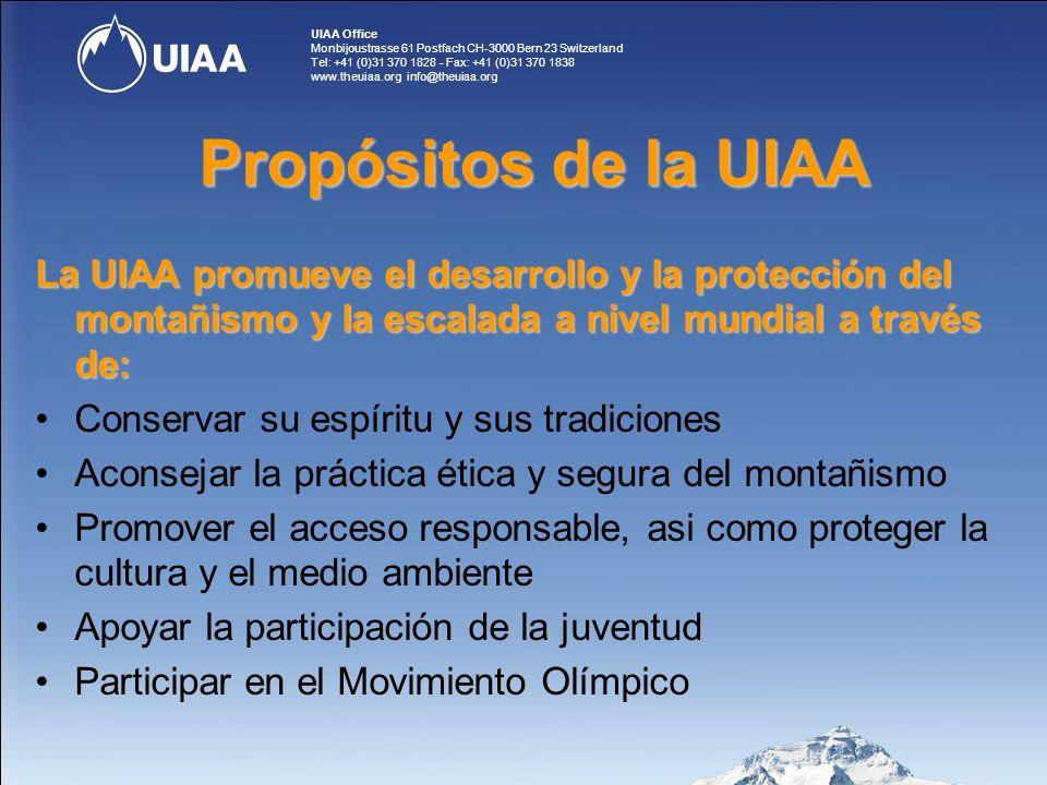 UIAA Office Monbijoustrasse 61 Postfach CH-3000 Bern 23 Switzerland Tel: +41 (0)31 370 1828 - Fax: +41 (0)31 370 1838 www.theuiaa.org info@theuiaa.org Beneficios para los miembros de la UIAA 10.