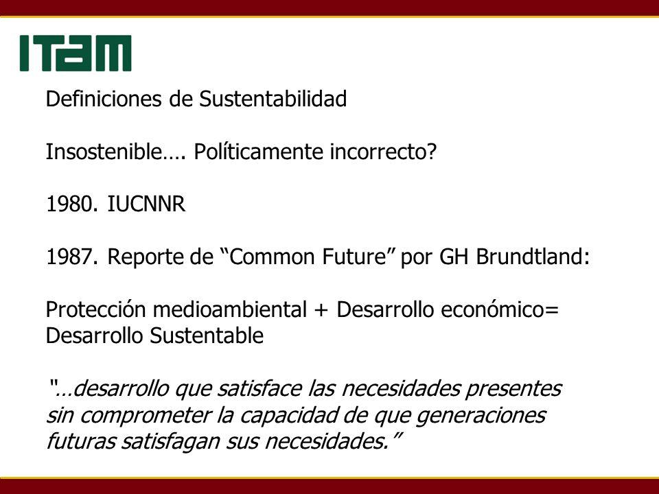 Definiciones de Sustentabilidad Insostenible…. Políticamente incorrecto? 1980. IUCNNR 1987. Reporte de Common Future por GH Brundtland: Protección med