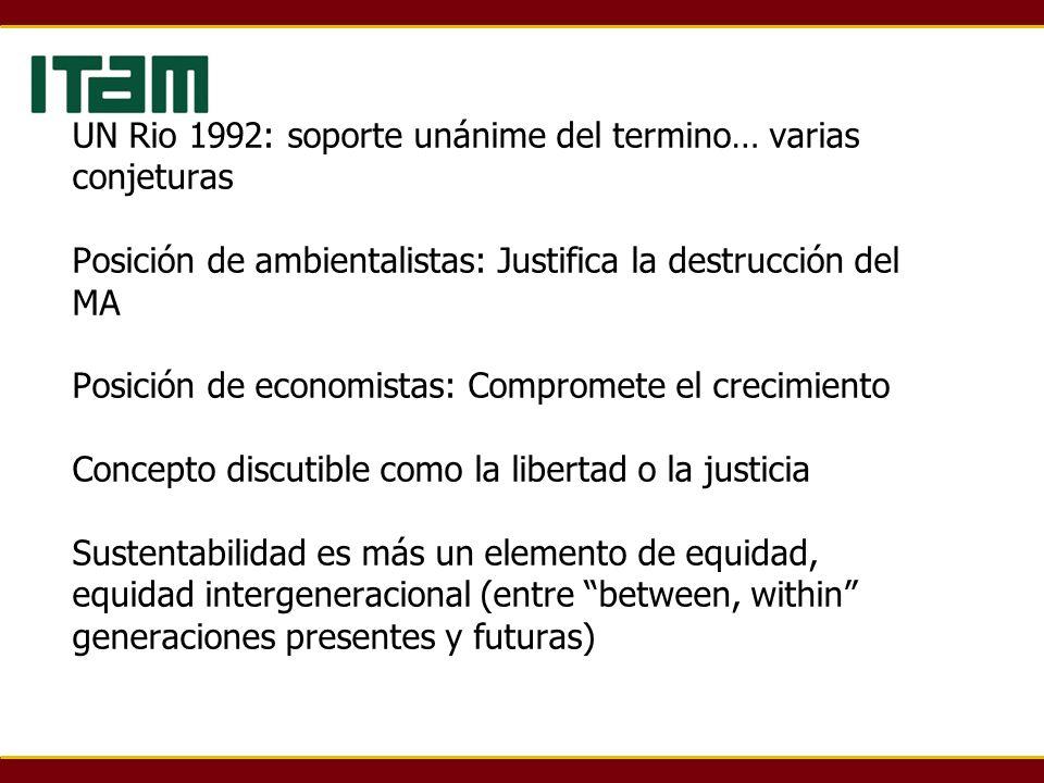 UN Rio 1992: soporte unánime del termino… varias conjeturas Posición de ambientalistas: Justifica la destrucción del MA Posición de economistas: Compr