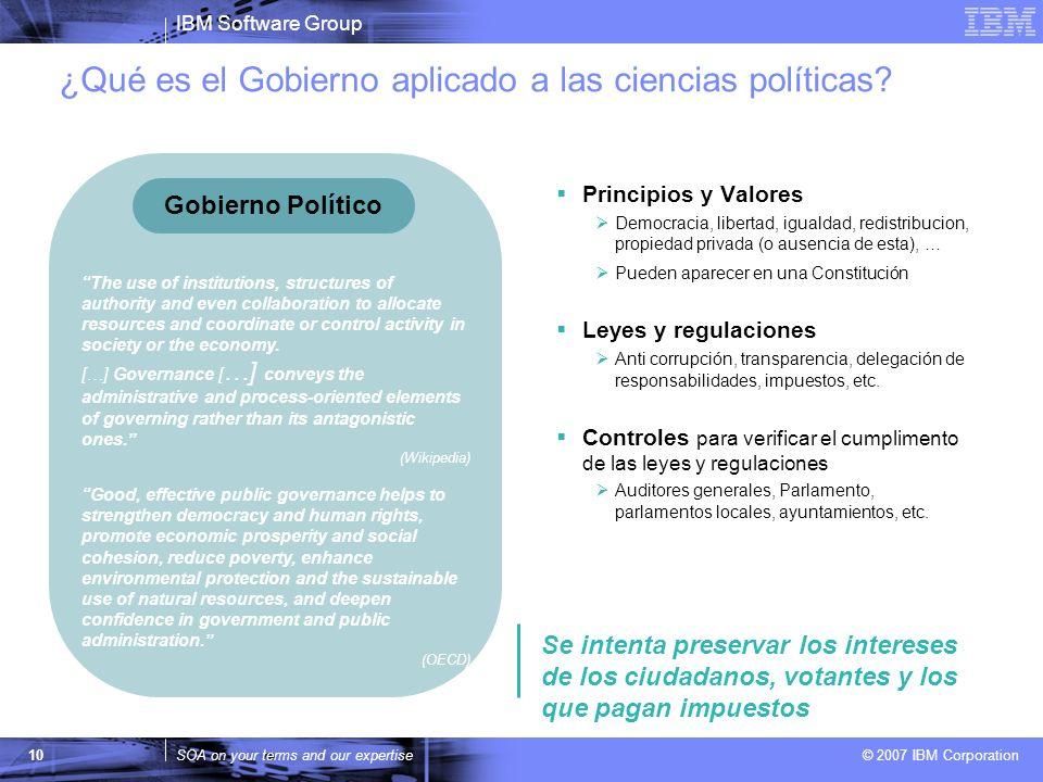 IBM Software Group SOA on your terms and our expertise © 2007 IBM Corporation ¿Qué es el Gobierno aplicado a las ciencias políticas? 10 The use of ins