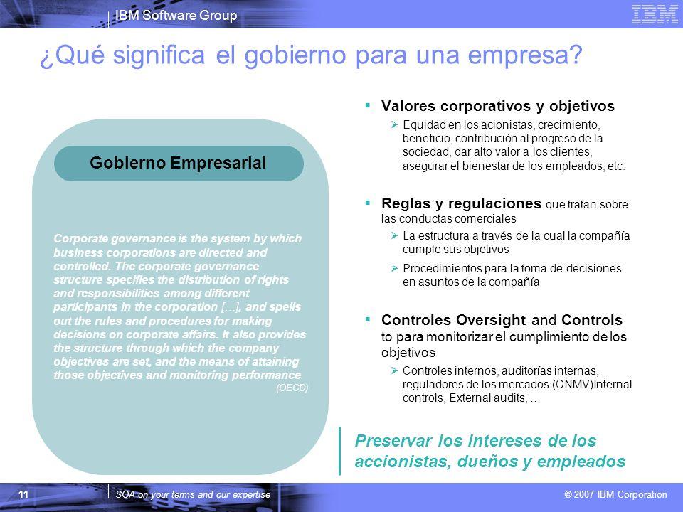 IBM Software Group SOA on your terms and our expertise © 2007 IBM Corporation ¿Qué significa el gobierno para una empresa? 11 Valores corporativos y o