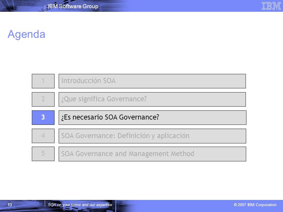 IBM Software Group SOA on your terms and our expertise © 2007 IBM Corporation 13 Agenda 2 ¿Es necesario SOA Governance? 1Introducción SOA ¿Que signifi
