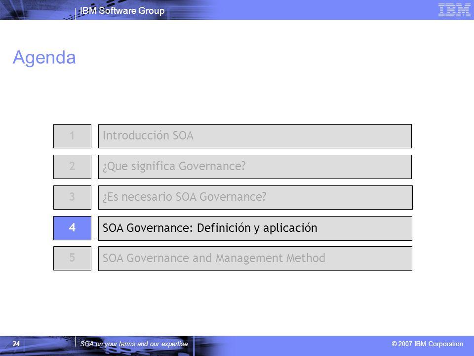 IBM Software Group SOA on your terms and our expertise © 2007 IBM Corporation 24 Agenda 2 ¿Es necesario SOA Governance? 1Introducción SOA ¿Que signifi
