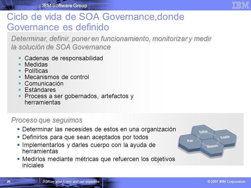 IBM Software Group SOA on your terms and our expertise © 2007 IBM Corporation 26 Cadenas de responsabilidad Medidas Políticas Mecanismos de control Co