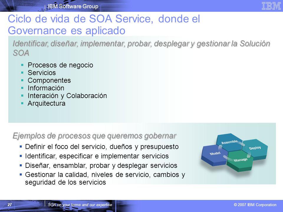 IBM Software Group SOA on your terms and our expertise © 2007 IBM Corporation 27 Procesos de negocio Servicios Componentes Información Interación y Co