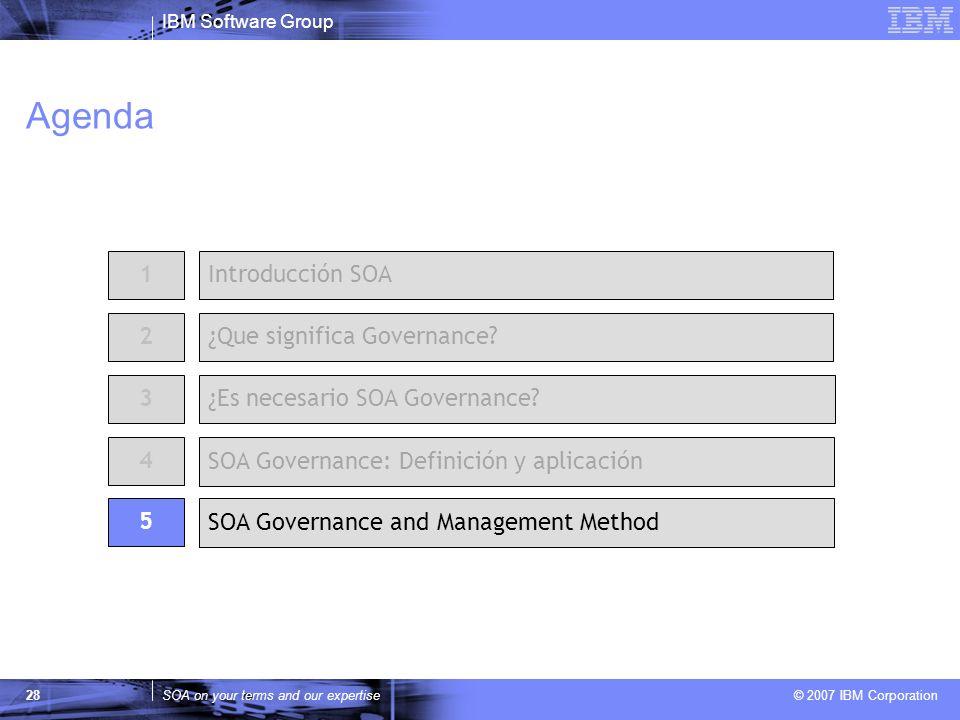 IBM Software Group SOA on your terms and our expertise © 2007 IBM Corporation 28 Agenda 2 ¿Es necesario SOA Governance? 1Introducción SOA ¿Que signifi