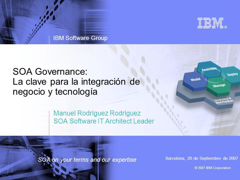 © 2007 IBM Corporation IBM Software Group SOA on your terms and our expertise SOA Governance: La clave para la integración de negocio y tecnología Man