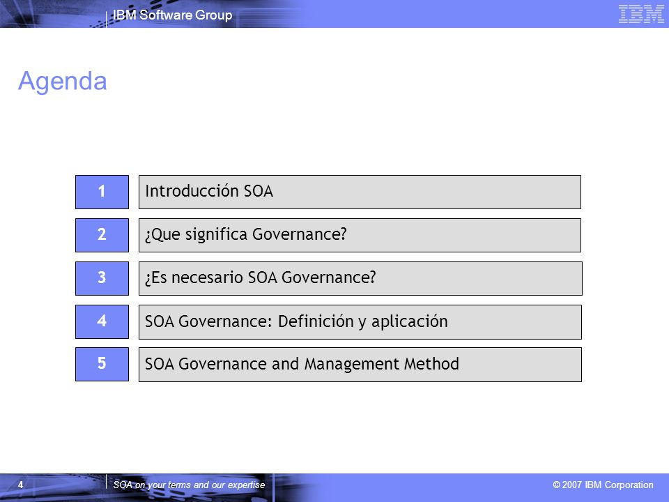 IBM Software Group SOA on your terms and our expertise © 2007 IBM Corporation 4 Agenda 2 ¿Es necesario SOA Governance? 1Introducción SOA ¿Que signific