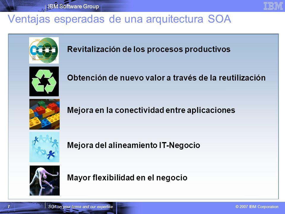 IBM Software Group SOA on your terms and our expertise © 2007 IBM Corporation 7 Ventajas esperadas de una arquitectura SOA Revitalización de los proce