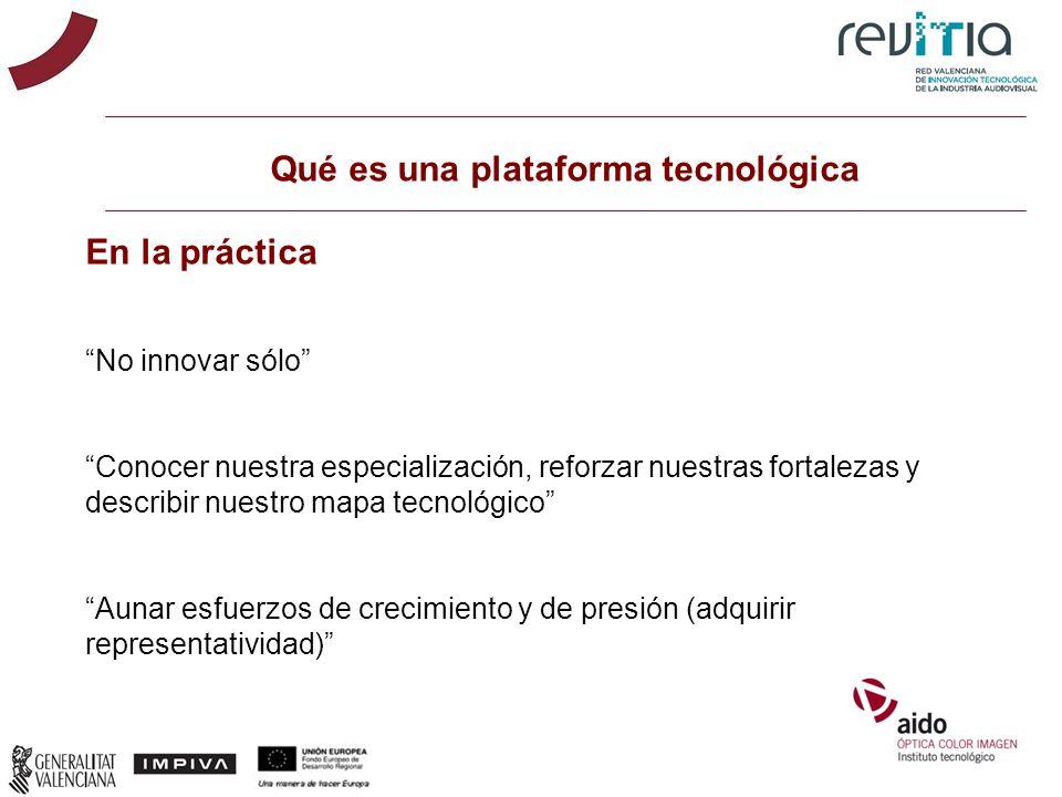 Qué es una plataforma tecnológica En la práctica No innovar sólo Conocer nuestra especialización, reforzar nuestras fortalezas y describir nuestro map