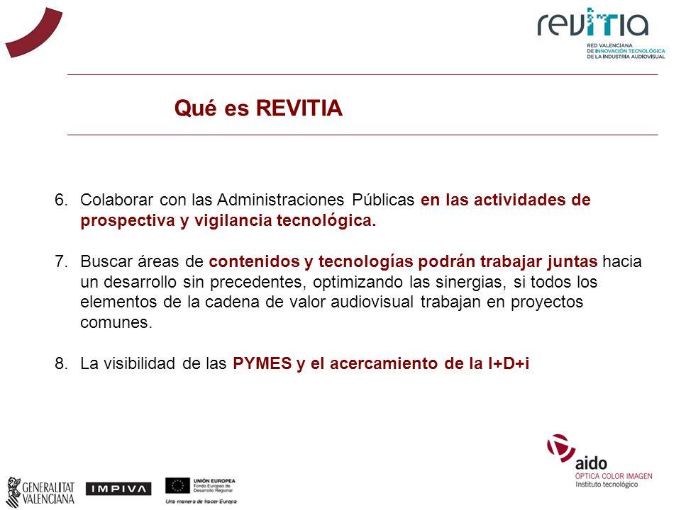 Qué es REVITIA 6.Colaborar con las Administraciones Públicas en las actividades de prospectiva y vigilancia tecnológica. 7.Buscar áreas de contenidos