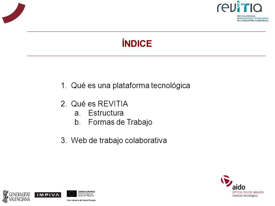 ÍNDICE 1.Qué es una plataforma tecnológica 2.Qué es REVITIA a.Estructura b.Formas de Trabajo 3.Web de trabajo colaborativa