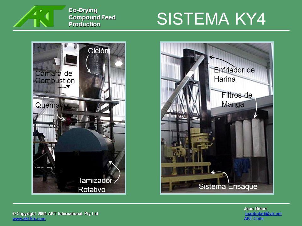 Co-Drying Compound Feed Production © Copyright 2004 AKT International Pty Ltd © Copyright 2004 AKT International Pty Ltd www.akt-kix.com Juan Bidart juanbidart@vtr.net AKT-Chile SISTEMA KY4 Homog.