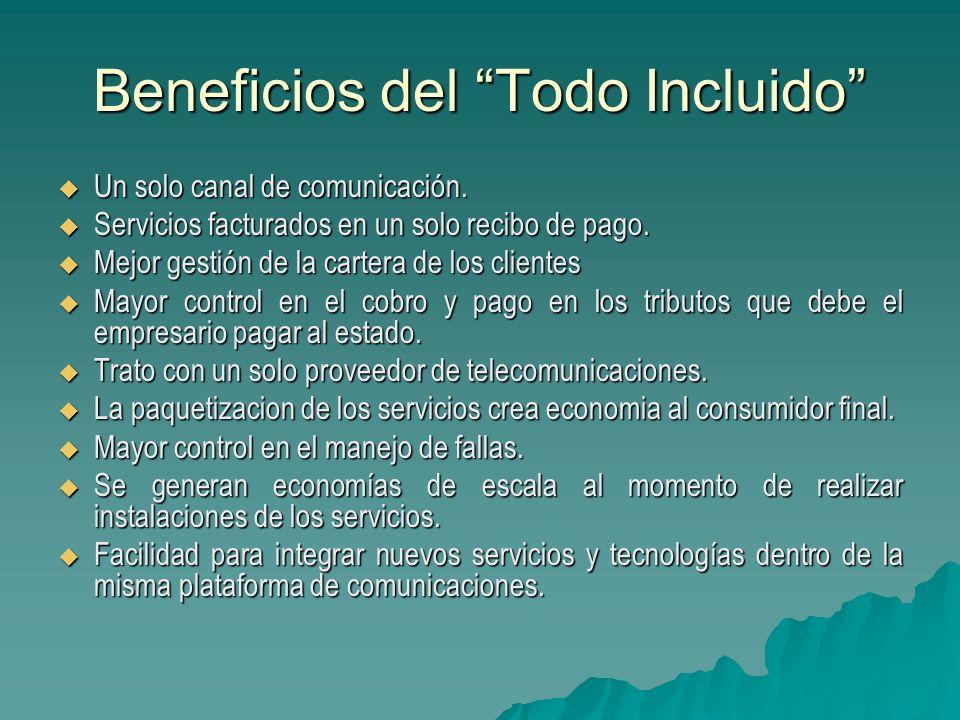 Beneficios del Todo Incluido Un solo canal de comunicación. Un solo canal de comunicación. Servicios facturados en un solo recibo de pago. Servicios f