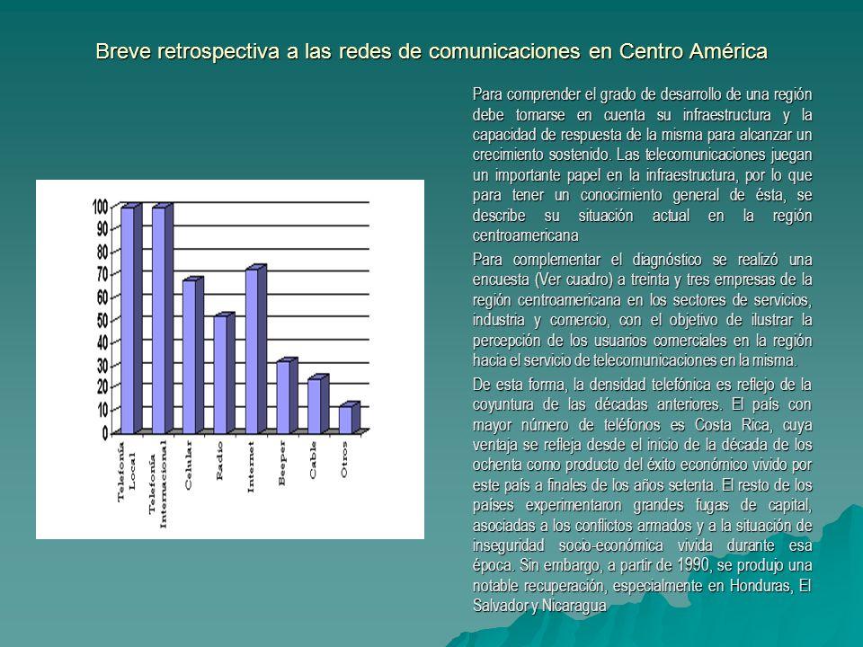 Breve retrospectiva a las redes de comunicaciones en Centro América Para comprender el grado de desarrollo de una región debe tomarse en cuenta su inf