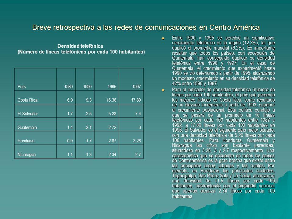 Breve retrospectiva a las redes de comunicaciones en Centro América Entre 1990 y 1995 se percibió un significativo crecimiento telefónico en la región