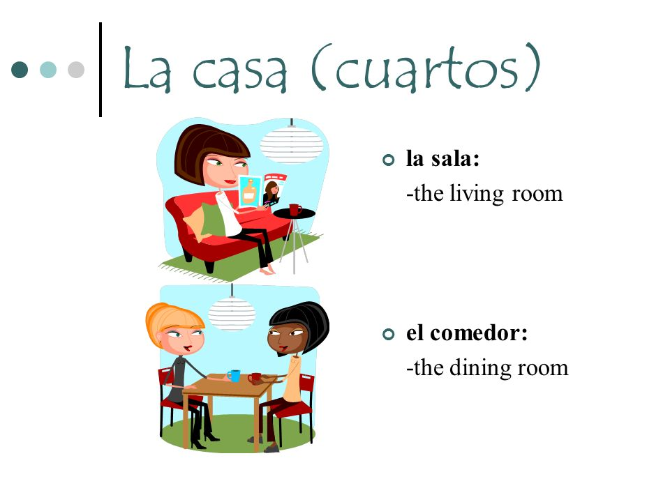 La casa (cuartos) la sala: -the living room el comedor: -the dining room