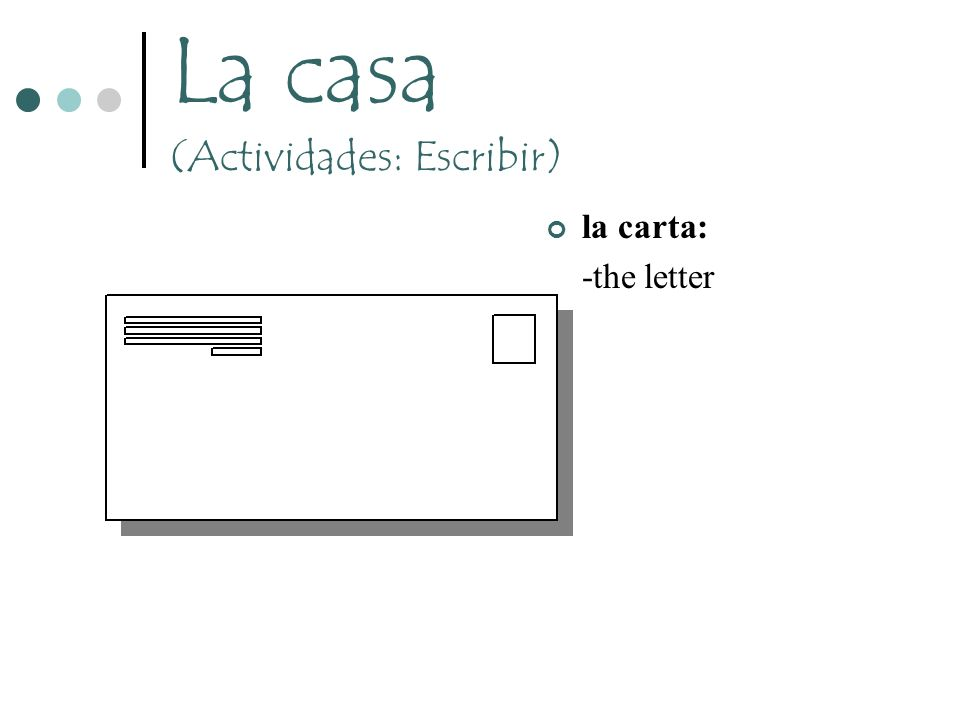 La casa (Actividades: Escribir) la carta: -the letter