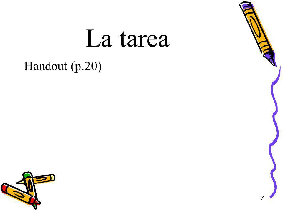 La tarea Handout (p.20) 7
