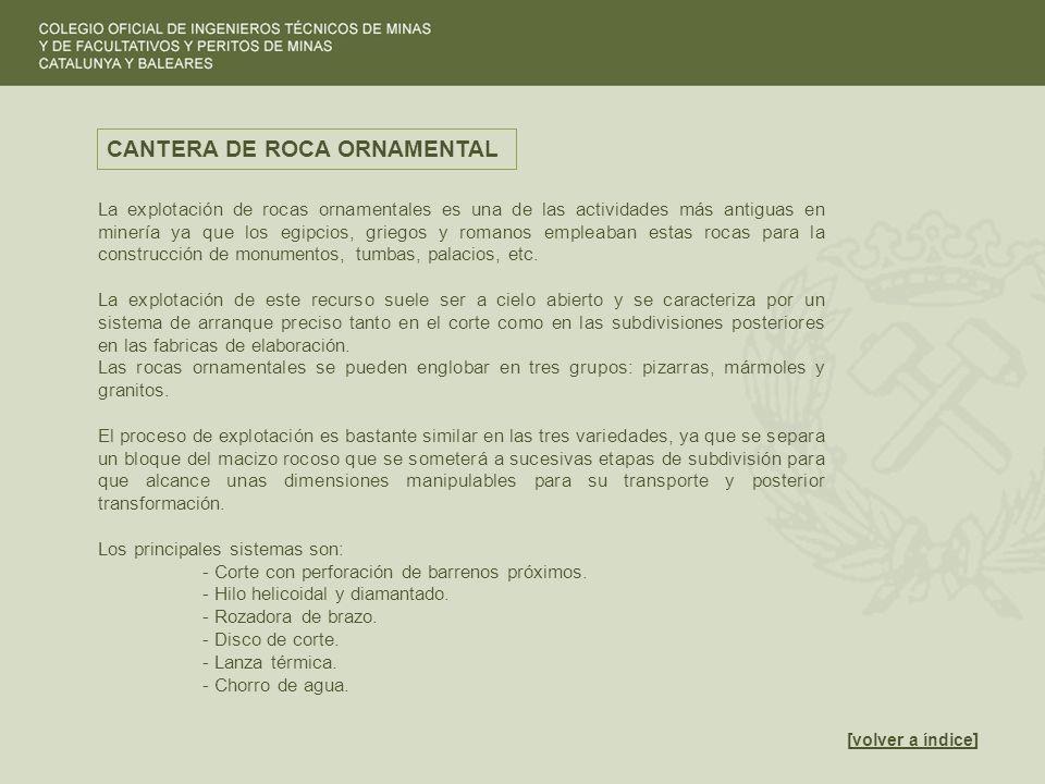 [volver a índice]volver a índice CANTERA DE ROCA ORNAMENTAL La explotación de rocas ornamentales es una de las actividades más antiguas en minería ya