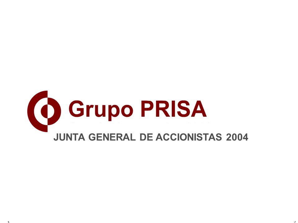 19 EVOLUCIÓN DE VENTAS DE MÚSICA A NIVEL MUNDIAL (%) GRUPO PRISA - JUNTA GENERAL DE ACCIONISTAS 2004 Fuente: IFPI 1994 1995 1996 1997 1998 1999 2000 2001 2002 2003 * 2004 * previsión +16,5 +10,3 0 -3,3 -0,2 +1,2 -4,9 -5,8 -6,6 -7,6 -4*