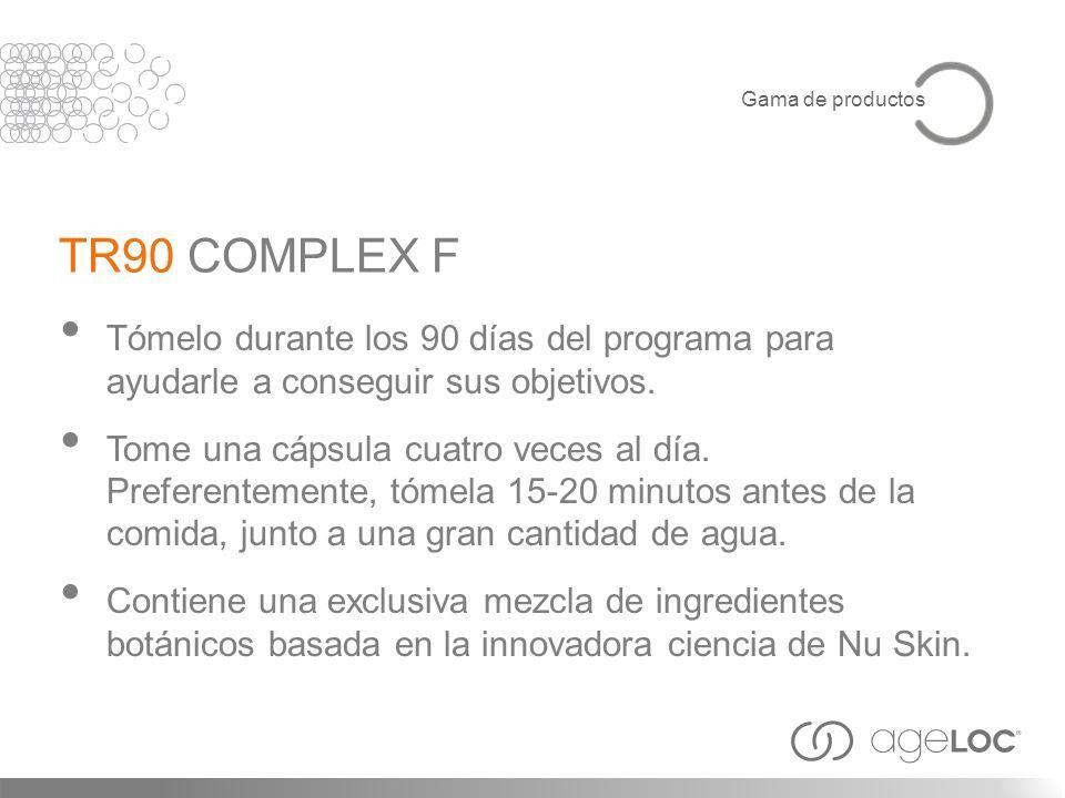 TR90 COMPLEX F Tómelo durante los 90 días del programa para ayudarle a conseguir sus objetivos. Tome una cápsula cuatro veces al día. Preferentemente,