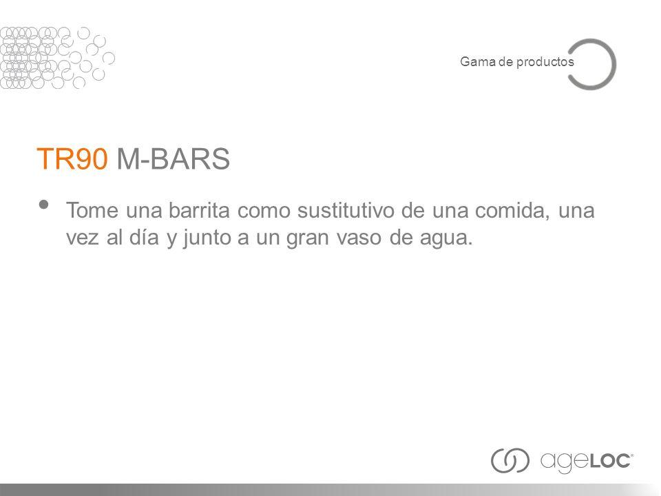 Tome una barrita como sustitutivo de una comida, una vez al día y junto a un gran vaso de agua. TR90 M-BARS Gama de productos