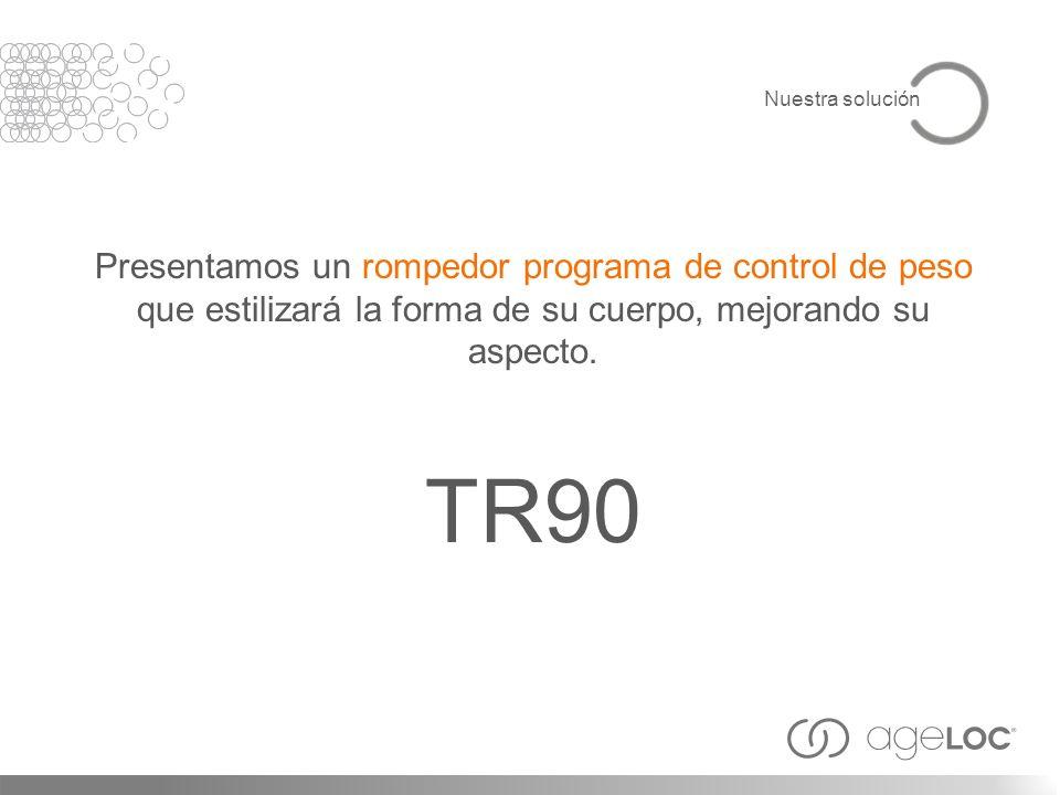 Presentamos un rompedor programa de control de peso que estilizará la forma de su cuerpo, mejorando su aspecto. TR90 Nuestra solución