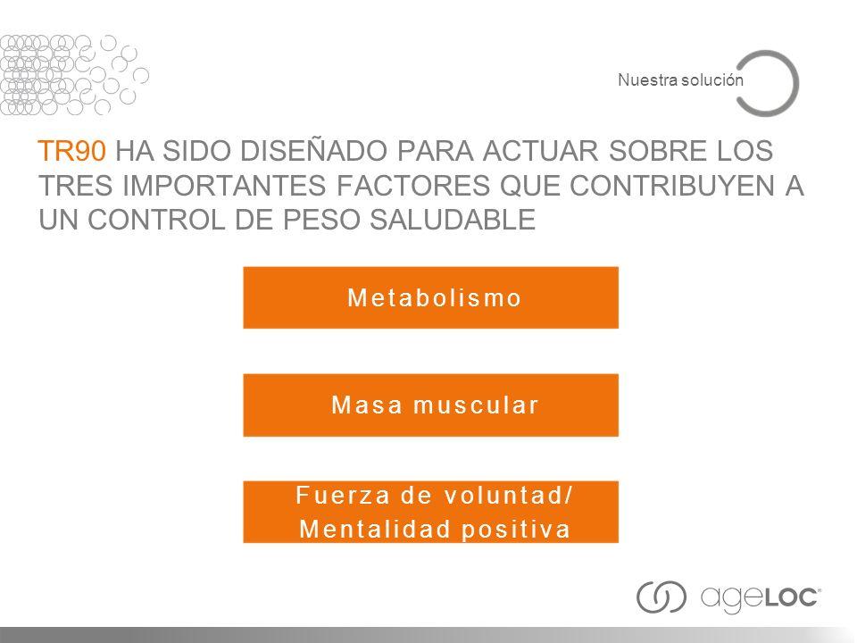 Metabolismo TR90 HA SIDO DISEÑADO PARA ACTUAR SOBRE LOS TRES IMPORTANTES FACTORES QUE CONTRIBUYEN A UN CONTROL DE PESO SALUDABLE Masa muscular Fuerza