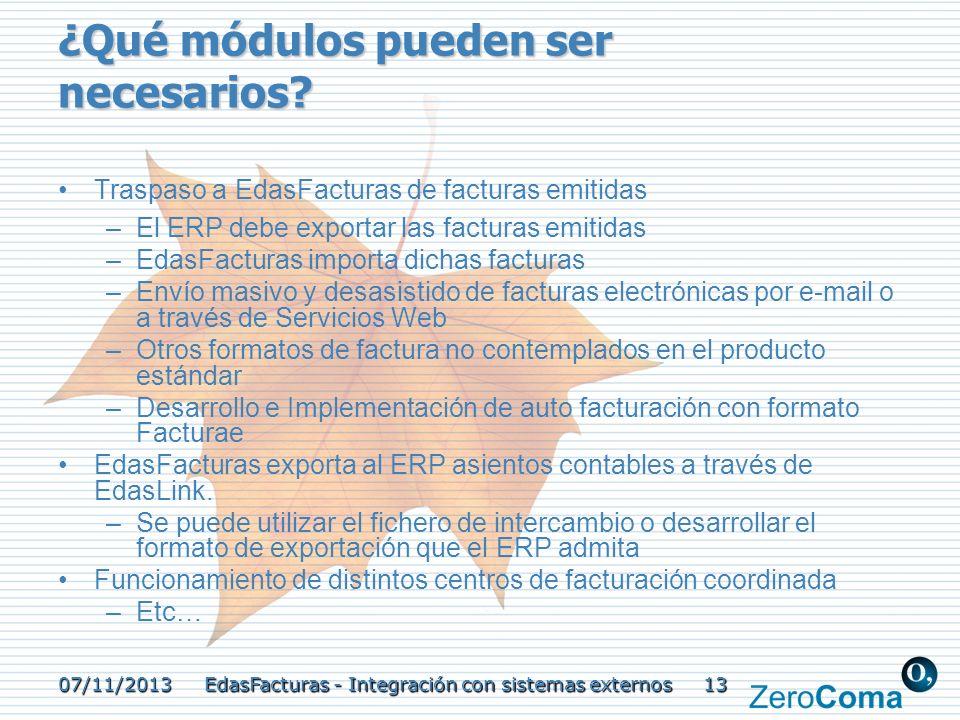 07/11/2013 EdasFacturas - Integración con sistemas externos 13 ¿Qué módulos pueden ser necesarios? Traspaso a EdasFacturas de facturas emitidas –El ER