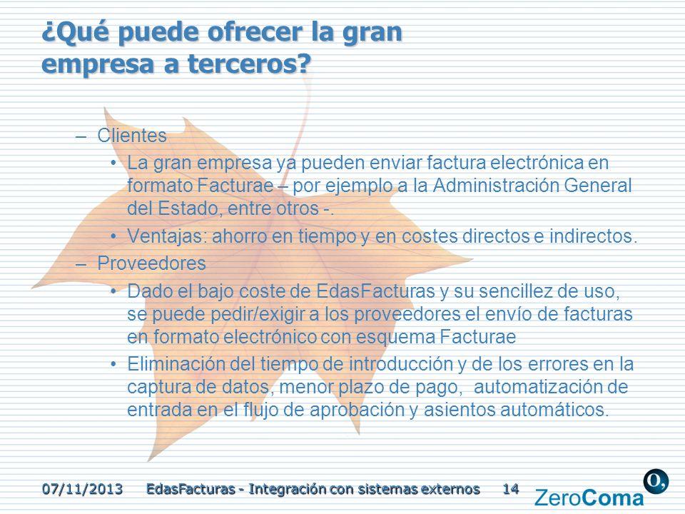 07/11/2013 EdasFacturas - Integración con sistemas externos 14 ¿Qué puede ofrecer la gran empresa a terceros? –Clientes La gran empresa ya pueden envi
