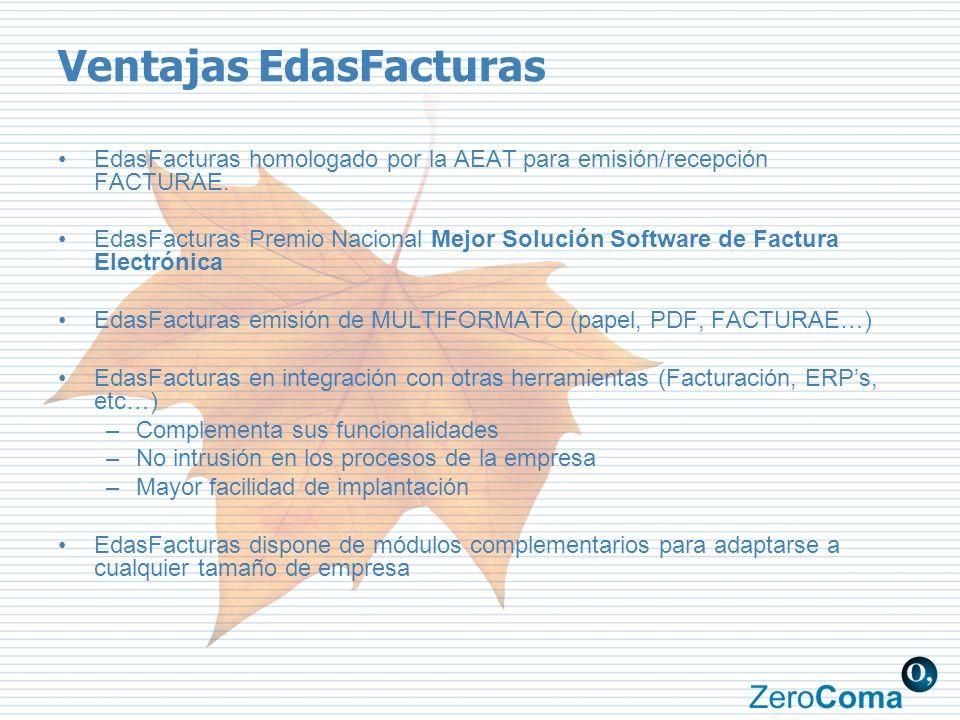 Ventajas EdasFacturas EdasFacturas homologado por la AEAT para emisión/recepción FACTURAE. EdasFacturas Premio Nacional Mejor Solución Software de Fac