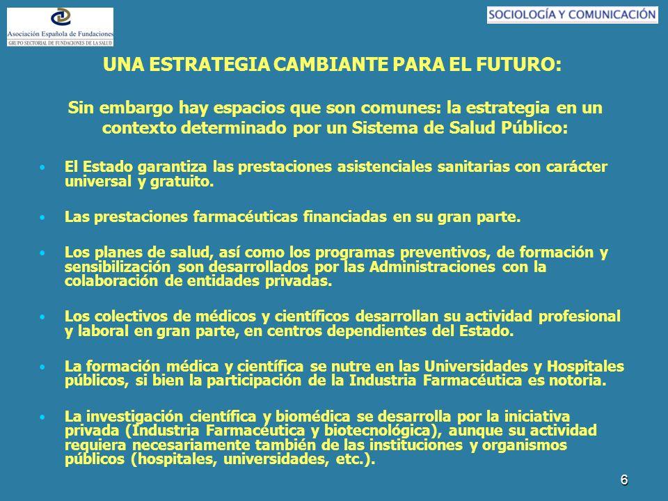 6 UNA ESTRATEGIA CAMBIANTE PARA EL FUTURO: Sin embargo hay espacios que son comunes: la estrategia en un contexto determinado por un Sistema de Salud Público: El Estado garantiza las prestaciones asistenciales sanitarias con carácter universal y gratuito.