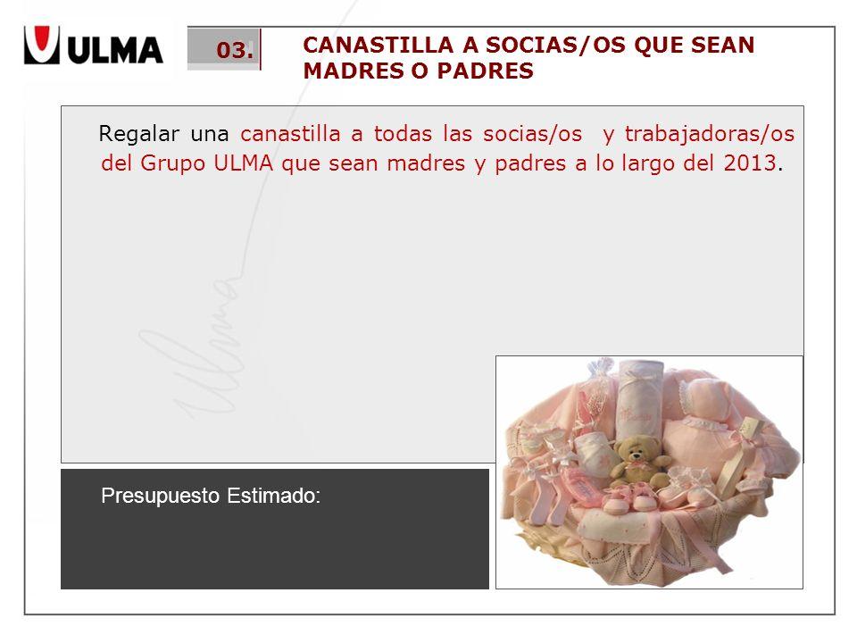 CANASTILLA A SOCIAS/OS QUE SEAN MADRES O PADRES Regalar una canastilla a todas las socias/os y trabajadoras/os del Grupo ULMA que sean madres y padres a lo largo del 2013.