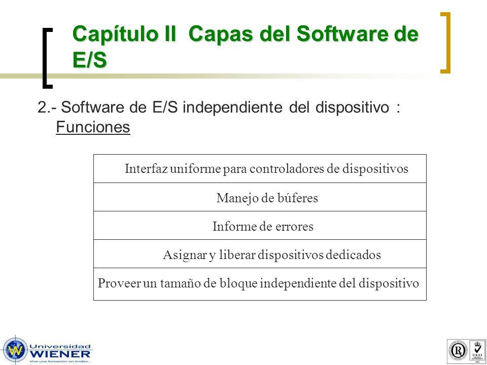 3.- Software de E/S en espacio de usuario : Funciones de cada capa Capítulo II Capas del Software de E/S Software independiente del dispositivo Procesos de usuario Controladores de dispositivos Manejadores de interrupciones Hardware Solicitud de E/S Respuesta de E/S Efectuar llamada de E/S Nombres, protección, bloqueos Preparar registros de dispositivos; verificar estados Despertar al controlador cuando E/S termine Realizar operaciones de E/S