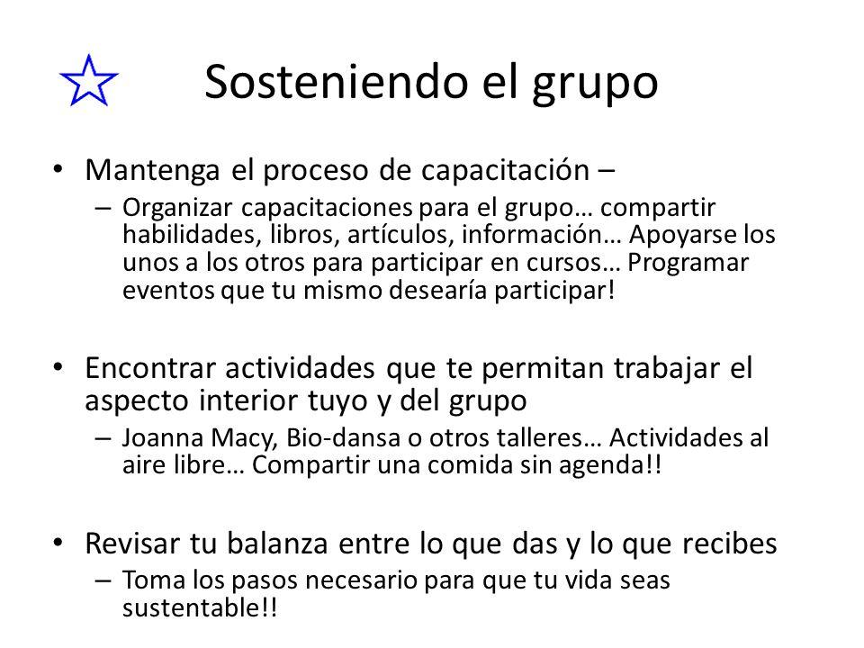 Sosteniendo el grupo Mantenga el proceso de capacitación – – Organizar capacitaciones para el grupo… compartir habilidades, libros, artículos, informa
