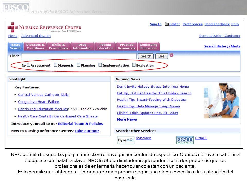 NRC permite búsquedas por palabra clave o navegar por contenido específico. Cuando se lleva a cabo una búsqueda con palabra clave, NRC le ofrece limit