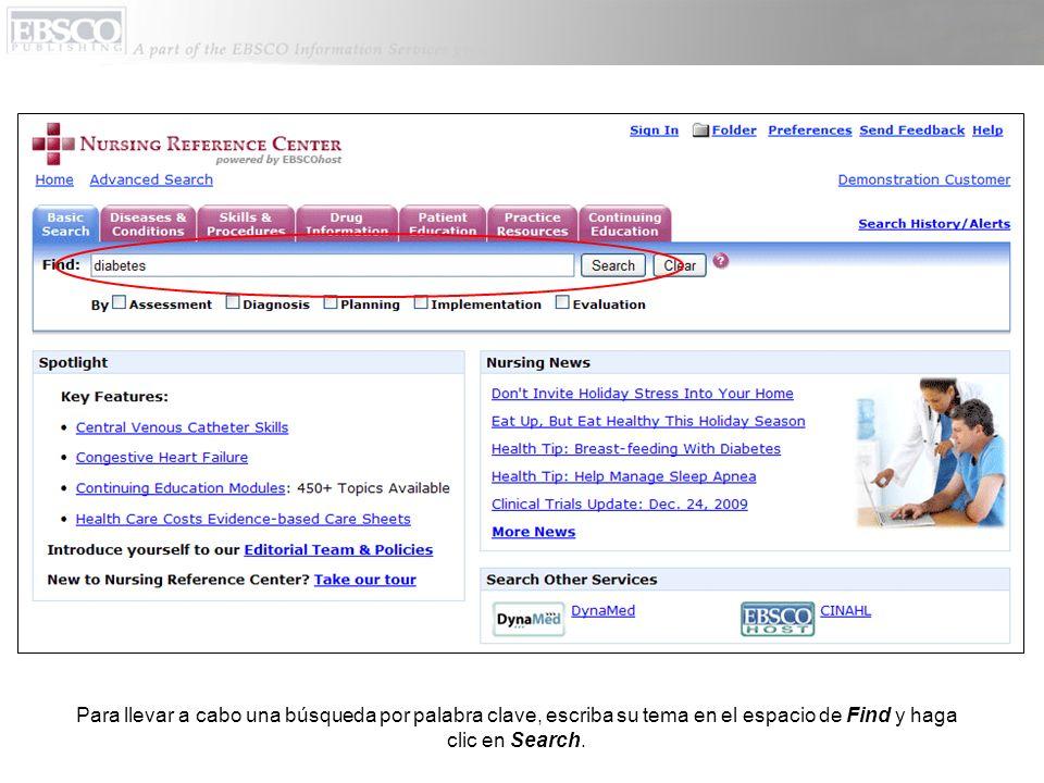 NRC le muestra una lista de resultados con documentos que contienen su término de búsqueda.