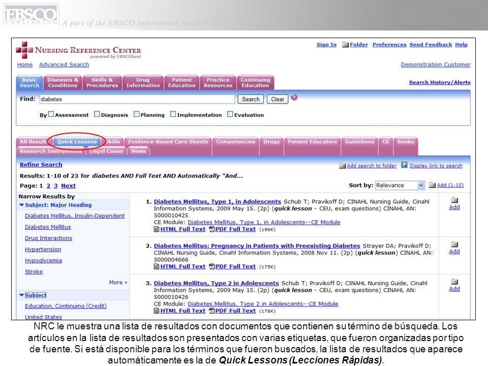 NRC le muestra una lista de resultados con documentos que contienen su término de búsqueda. Los artículos en la lista de resultados son presentados co