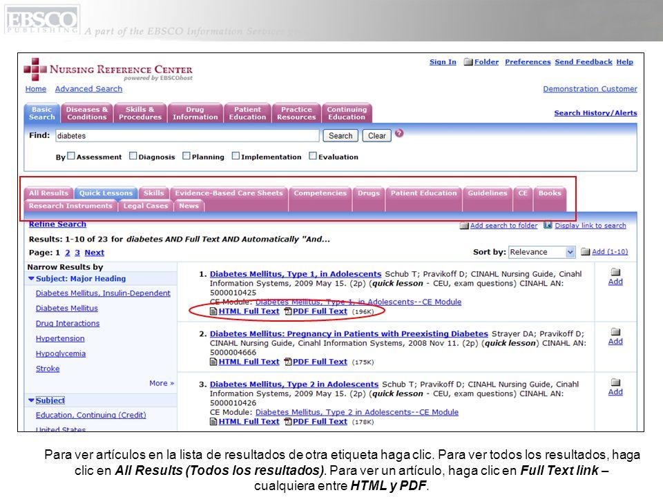 Para ver artículos en la lista de resultados de otra etiqueta haga clic. Para ver todos los resultados, haga clic en All Results (Todos los resultados