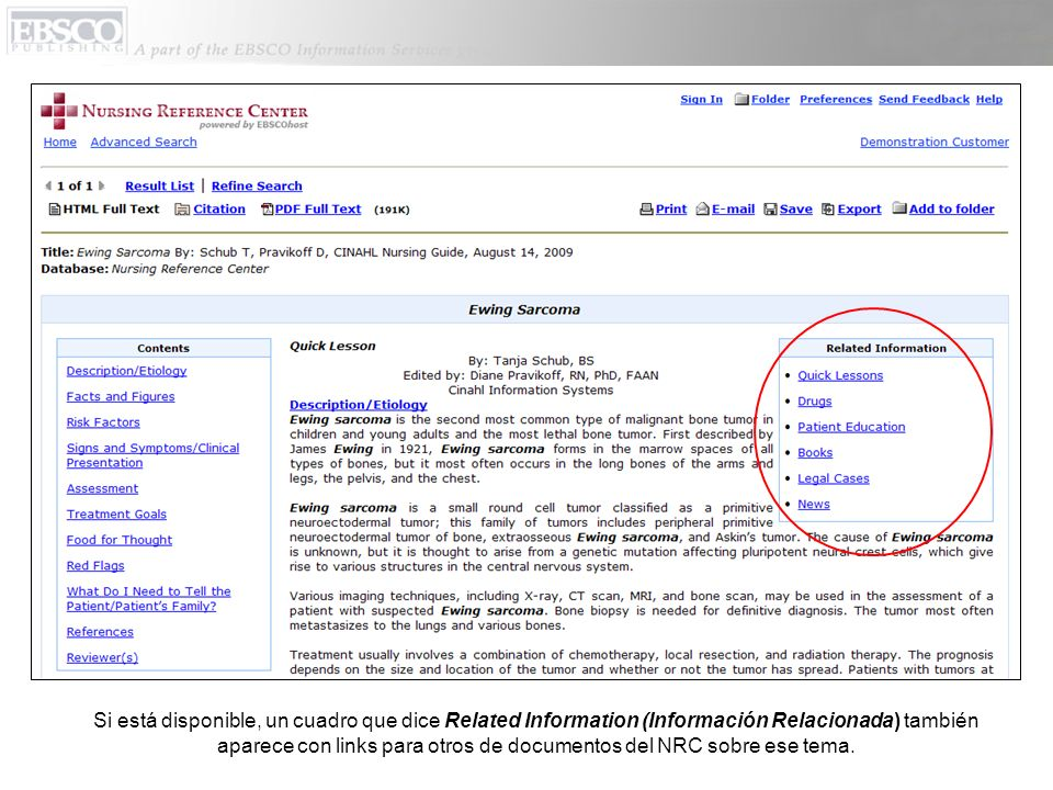 Si está disponible, un cuadro que dice Related Information (Información Relacionada) también aparece con links para otros de documentos del NRC sobre