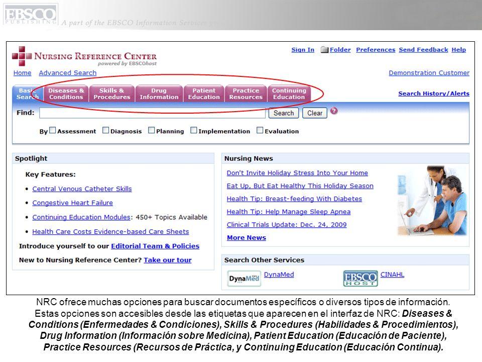 NRC ofrece muchas opciones para buscar documentos específicos o diversos tipos de información. Estas opciones son accesibles desde las etiquetas que a