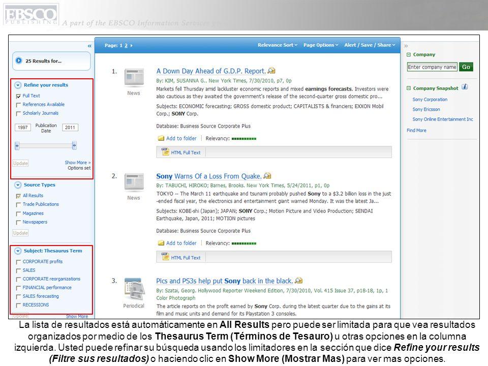 La lista de resultados está automáticamente en All Results pero puede ser limitada para que vea resultados organizados por medio de los Thesaurus Term (Términos de Tesauro) u otras opciones en la columna izquierda.